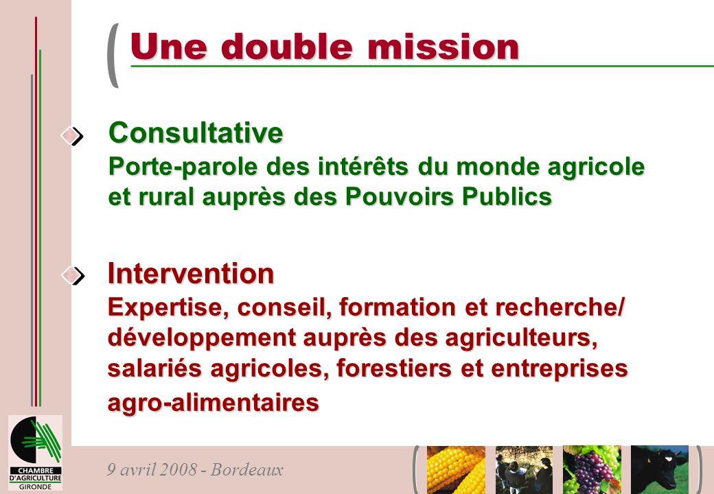 9 avril 2008 - Bordeaux Une double mission Consultative Porte-parole des intérêts du monde agricole et rural auprès des Pouvoirs Publics Intervention