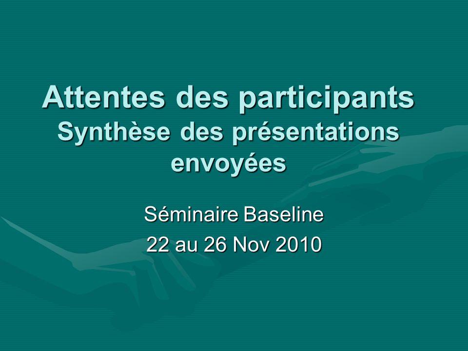 Séminaire Baseline 22 au 26 Nov 2010 Attentes des participants Synthèse des présentations envoyées