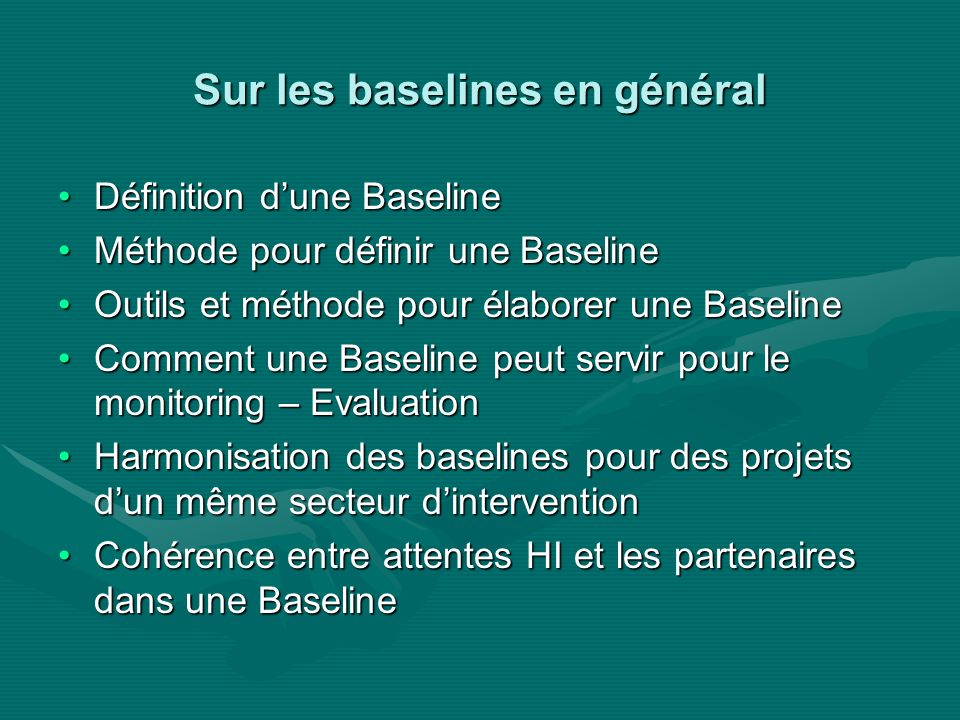 Sur les baselines en général Définition dune BaselineDéfinition dune Baseline Méthode pour définir une BaselineMéthode pour définir une Baseline Outils et méthode pour élaborer une BaselineOutils et méthode pour élaborer une Baseline Comment une Baseline peut servir pour le monitoring – EvaluationComment une Baseline peut servir pour le monitoring – Evaluation Harmonisation des baselines pour des projets dun même secteur dinterventionHarmonisation des baselines pour des projets dun même secteur dintervention Cohérence entre attentes HI et les partenaires dans une BaselineCohérence entre attentes HI et les partenaires dans une Baseline