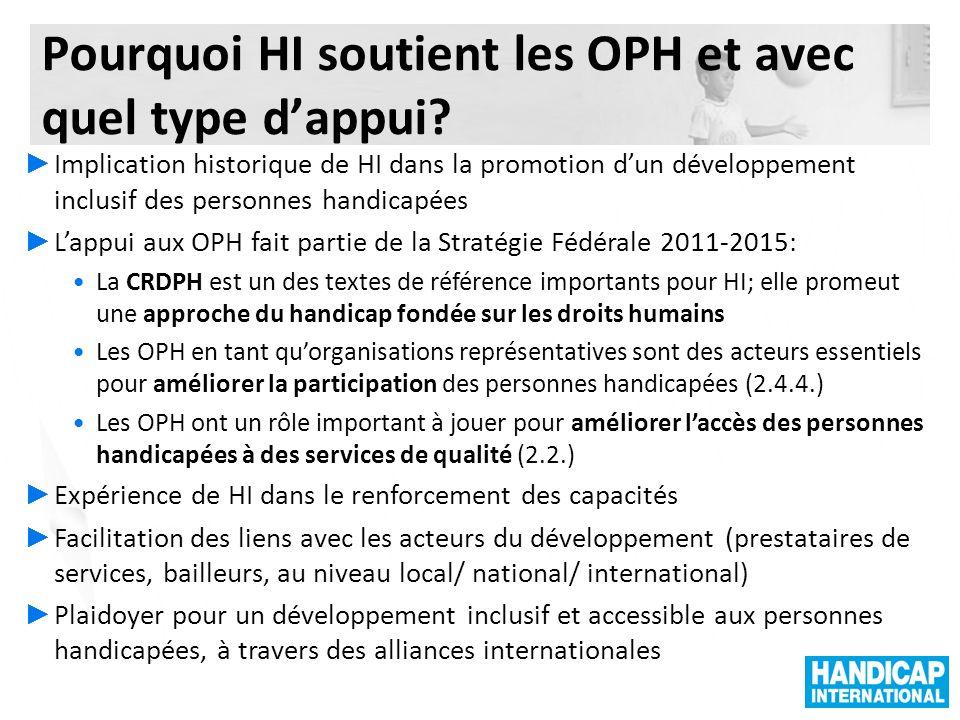 Projets régionauxProjets nationauxProjets HIB Projets terminés Projets de Développement Local Inclusif Les projets HI dappui aux OPH (2011)