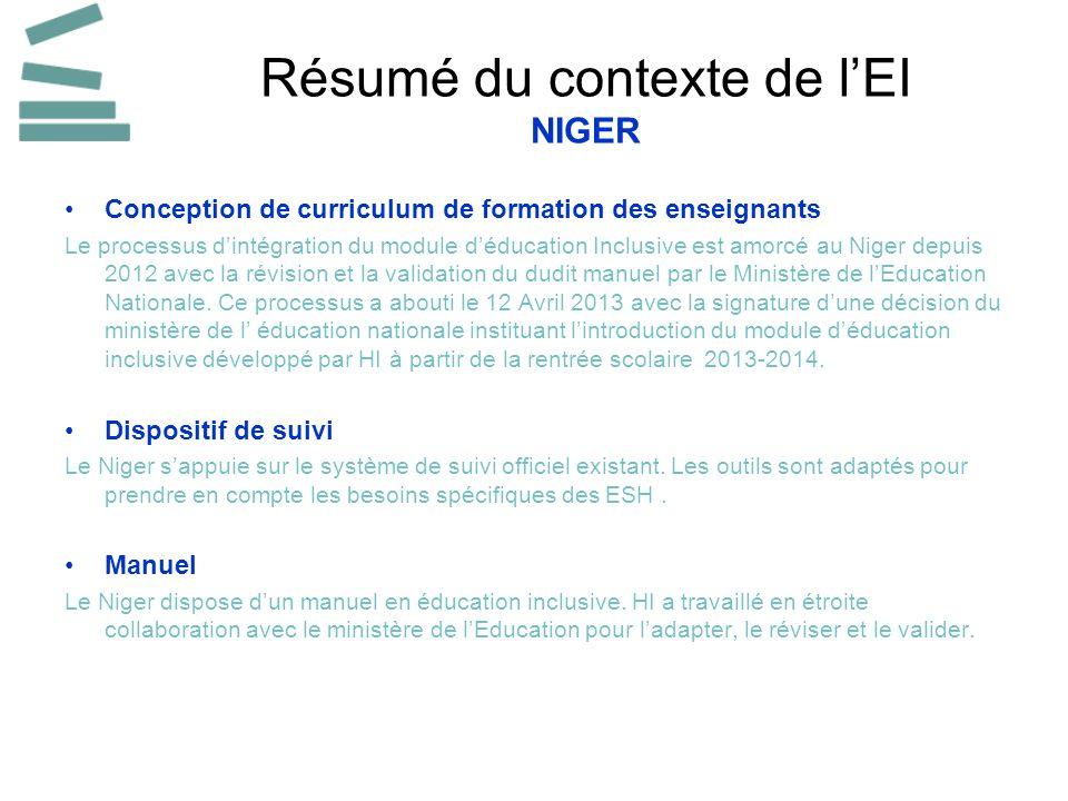 Résumé du contexte de lEI NIGER Conception de curriculum de formation des enseignants Le processus dintégration du module déducation Inclusive est amorcé au Niger depuis 2012 avec la révision et la validation du dudit manuel par le Ministère de lEducation Nationale.