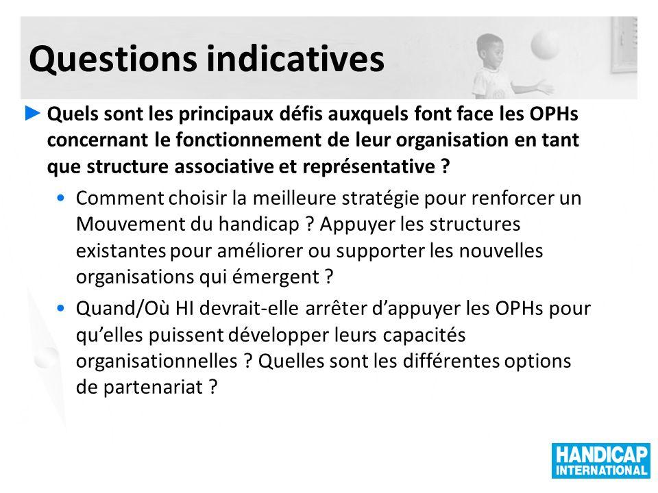 Questions indicatives Quels sont les principaux défis auxquels font face les OPHs concernant le fonctionnement de leur organisation en tant que structure associative et représentative .