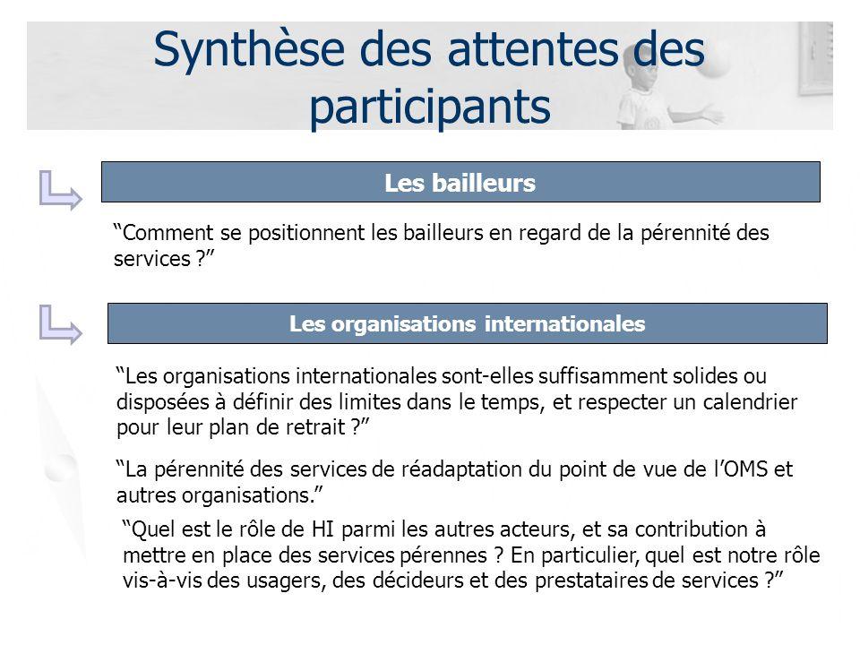 Synthèse des attentes des participants Les bailleurs Les organisations internationales La pérennité des services de réadaptation du point de vue de lOMS et autres organisations.