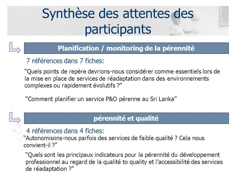 Synthèse des attentes des participants pérennité et qualité Planification / monitoring de la pérennité 4 références dans 4 fiches: Autonomisons-nous parfois des services de faible qualité .