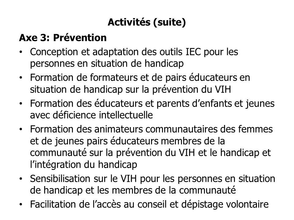 Activités (suite) Axe 3: Prévention Conception et adaptation des outils IEC pour les personnes en situation de handicap Formation de formateurs et de pairs éducateurs en situation de handicap sur la prévention du VIH Formation des éducateurs et parents denfants et jeunes avec déficience intellectuelle Formation des animateurs communautaires des femmes et de jeunes pairs éducateurs membres de la communauté sur la prévention du VIH et le handicap et lintégration du handicap Sensibilisation sur le VIH pour les personnes en situation de handicap et les membres de la communauté Facilitation de laccès au conseil et dépistage volontaire
