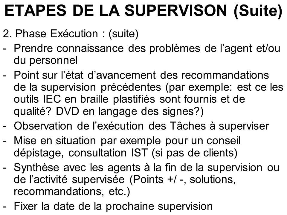 ETAPES DE LA SUPERVISON (Suite) 2. Phase Exécution : (suite) -Prendre connaissance des problèmes de lagent et/ou du personnel -Point sur létat davance