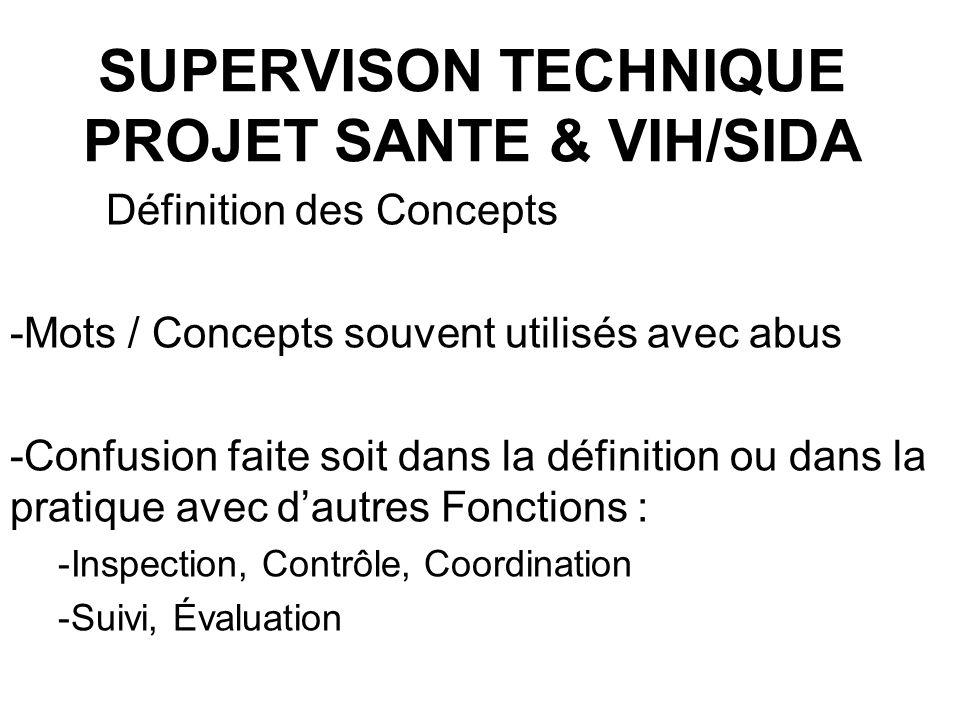 SUPERVISON TECHNIQUE PROJET SANTE & VIH/SIDA Définition des Concepts -Mots / Concepts souvent utilisés avec abus -Confusion faite soit dans la définit