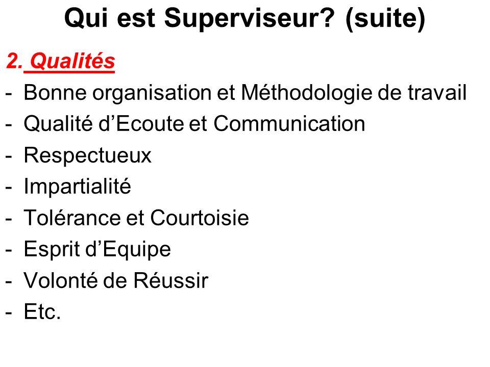 Qui est Superviseur? (suite) 2. Qualités -Bonne organisation et Méthodologie de travail -Qualité dEcoute et Communication -Respectueux -Impartialité -