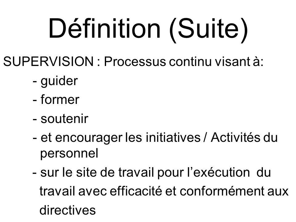 Définition (Suite) SUPERVISION : Processus continu visant à: - guider - former - soutenir - et encourager les initiatives / Activités du personnel - sur le site de travail pour lexécution du travail avec efficacité et conformément aux directives