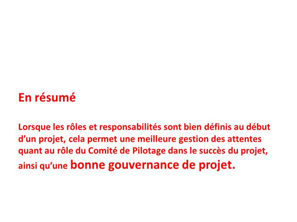 En résumé Lorsque les rôles et responsabilités sont bien définis au début dun projet, cela permet une meilleure gestion des attentes quant au rôle du Comité de Pilotage dans le succès du projet, ainsi quune bonne gouvernance de projet.