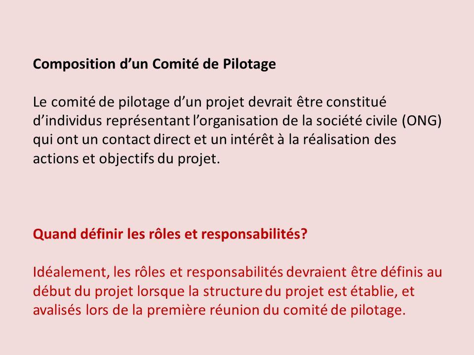 Composition dun Comité de Pilotage Le comité de pilotage dun projet devrait être constitué dindividus représentant lorganisation de la société civile (ONG) qui ont un contact direct et un intérêt à la réalisation des actions et objectifs du projet.