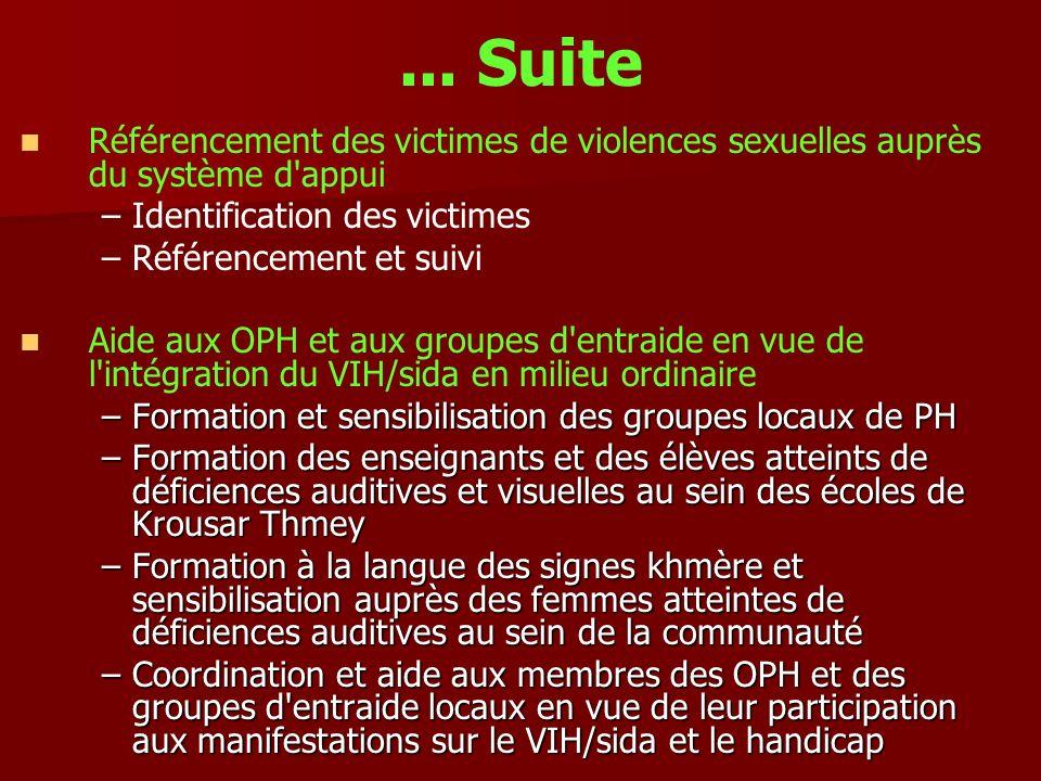 ... Suite Référencement des victimes de violences sexuelles auprès du système d'appui – –Identification des victimes – –Référencement et suivi Aide au