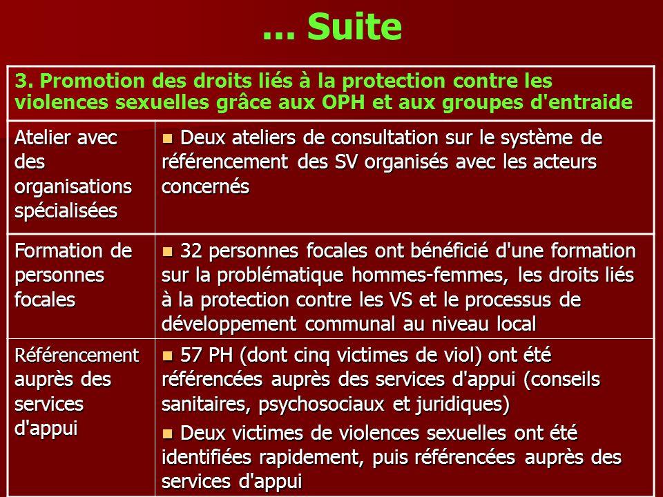 ... Suite 3. Promotion des droits liés à la protection contre les violences sexuelles grâce aux OPH et aux groupes d'entraide Atelier avec des organis