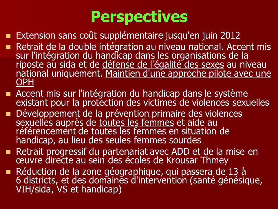 Perspectives Extension sans coût supplémentaire jusqu'en juin 2012 Retrait de la double intégration au niveau national. Accent mis sur l'intégration d