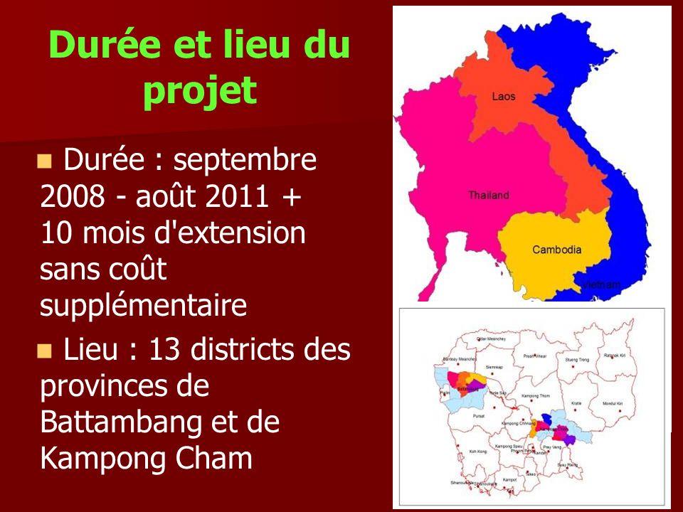 Durée et lieu du projet Durée : septembre 2008 - août 2011 + 10 mois d'extension sans coût supplémentaire Lieu : 13 districts des provinces de Battamb