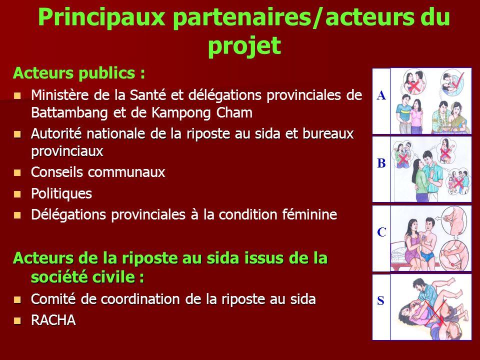 Principaux partenaires/acteurs du projet Acteurs publics : Ministère de la Santé et délégations provinciales de Battambang et de Kampong Cham Autorité