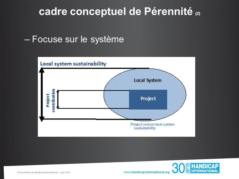 cadre conceptuel de Pérennité (2) –Focuse sur le système