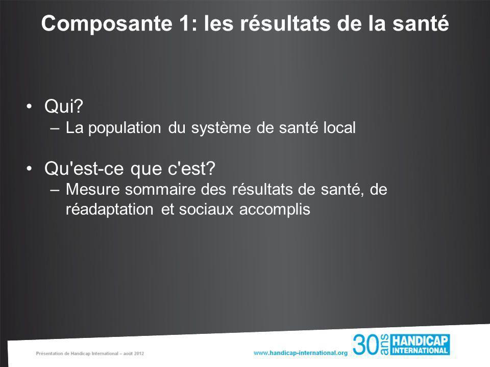 Composante 1: les résultats de la santé Qui? –La population du système de santé local Qu'est-ce que c'est? –Mesure sommaire des résultats de santé, de
