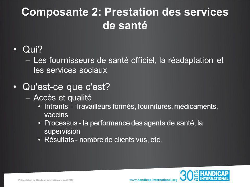 Composante 2: Prestation des services de santé Qui? –Les fournisseurs de santé officiel, la réadaptation et les services sociaux Qu'est-ce que c'est?