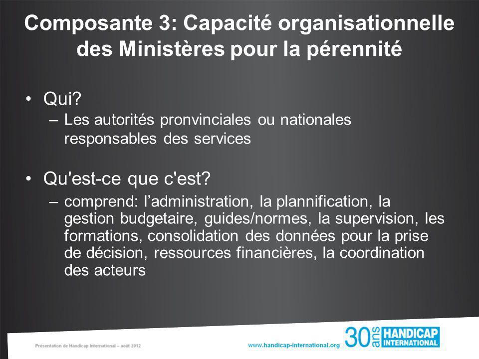 Composante 3: Capacité organisationnelle des Ministères pour la pérennité Qui? –Les autorités pronvinciales ou nationales responsables des services Qu