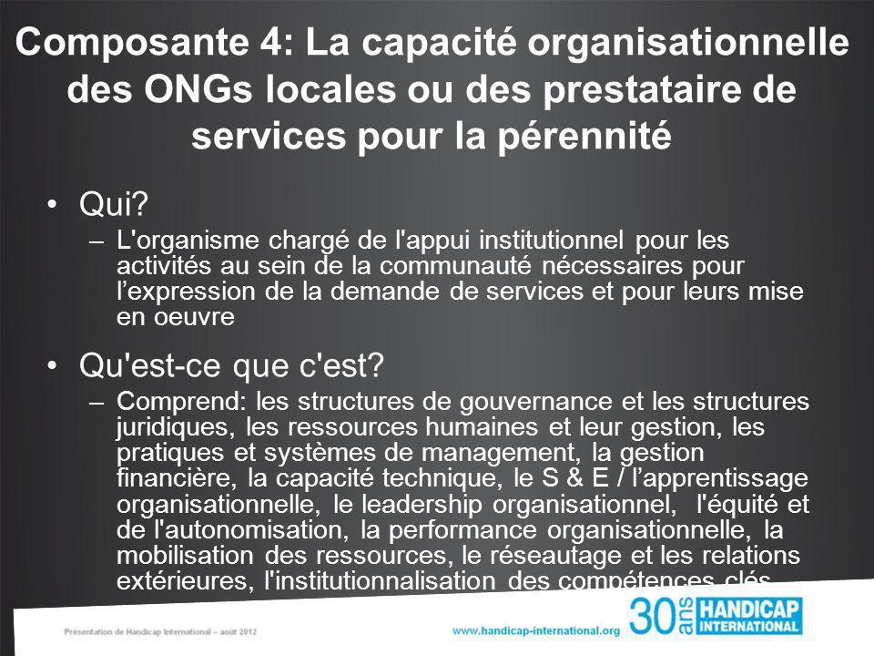 Composante 4: La capacité organisationnelle des ONGs locales ou des prestataire de services pour la pérennité Qui? –L'organisme chargé de l'appui inst