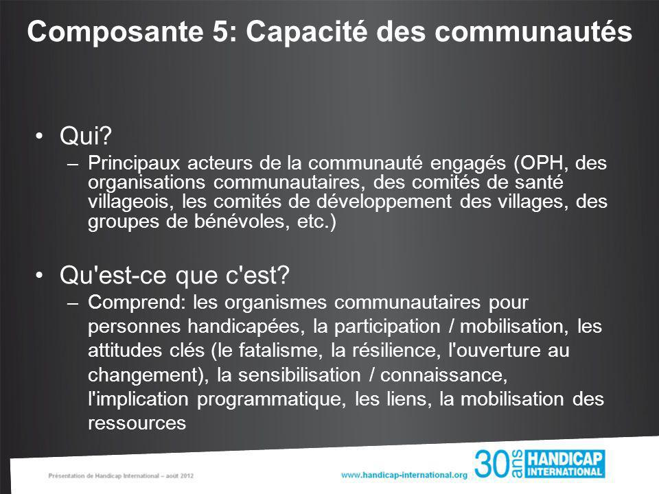 Composante 5: Capacité des communautés Qui? –Principaux acteurs de la communauté engagés (OPH, des organisations communautaires, des comités de santé