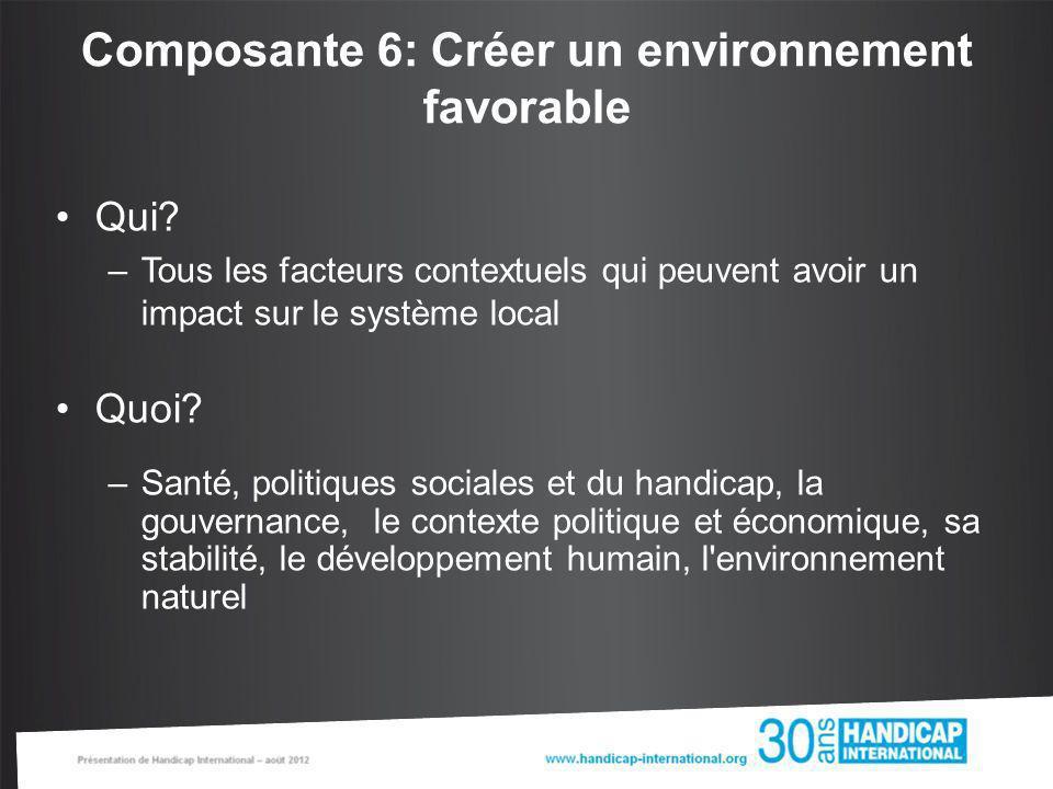 Composante 6: Créer un environnement favorable Qui? –Tous les facteurs contextuels qui peuvent avoir un impact sur le système local Quoi? –Santé, poli