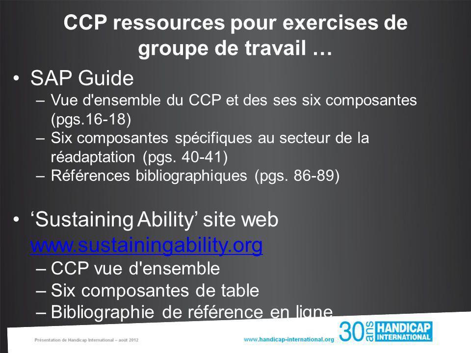 SAP Guide –Vue d'ensemble du CCP et des ses six composantes (pgs.16-18) –Six composantes spécifiques au secteur de la réadaptation (pgs. 40-41) –Référ