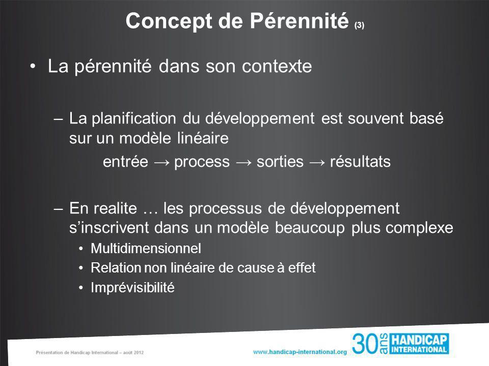 Concept de Pérennité (3) La pérennité dans son contexte –La planification du développement est souvent basé sur un modèle linéaire entrée process sort