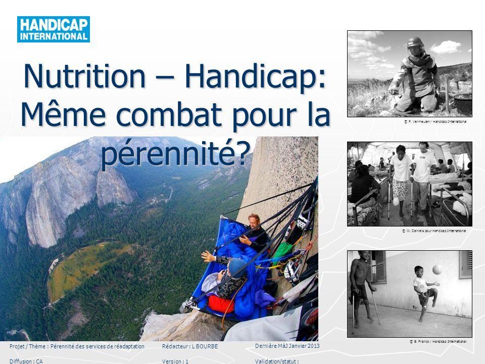 © P. Vermeulen / Handicap International © W. Daniels pour Handicap International © B. Franck / Handicap International Projet / Thème : Pérennité des s