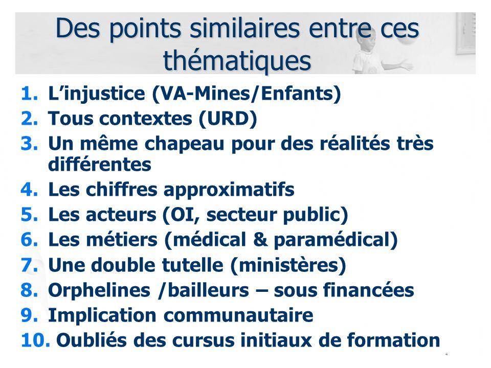 4 Des points similaires entre ces thématiques 1.Linjustice (VA-Mines/Enfants) 2.Tous contextes (URD) 3.Un même chapeau pour des réalités très différen