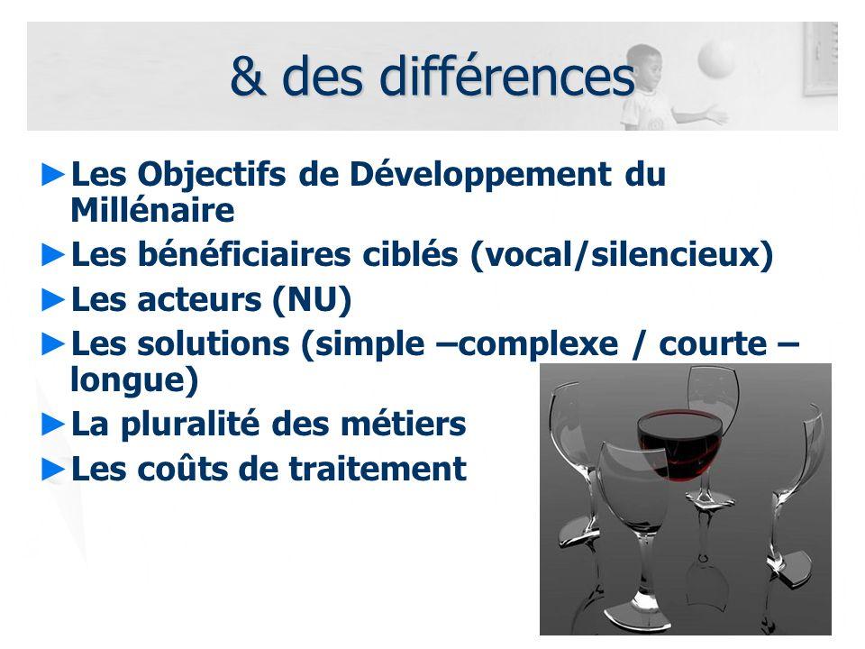 5 & des différences Les Objectifs de Développement du Millénaire Les bénéficiaires ciblés (vocal/silencieux) Les acteurs (NU) Les solutions (simple –c