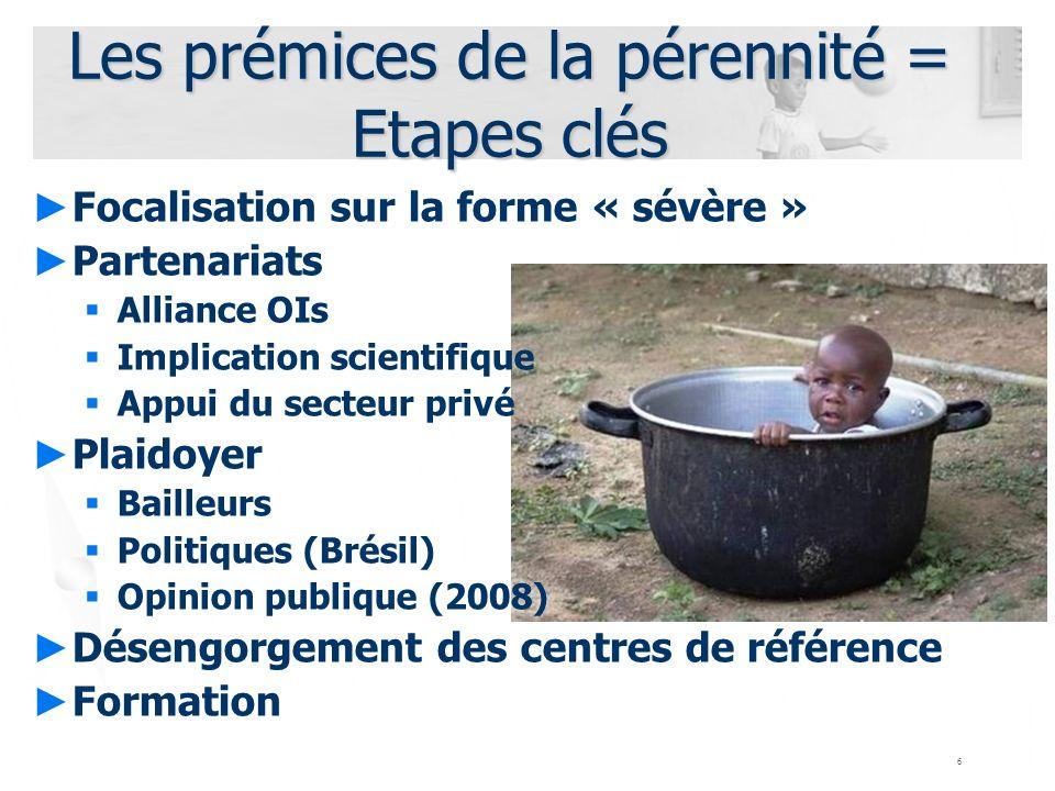 6 Les prémices de la pérennité = Etapes clés Focalisation sur la forme « sévère » Partenariats Alliance OIs Implication scientifique Appui du secteur