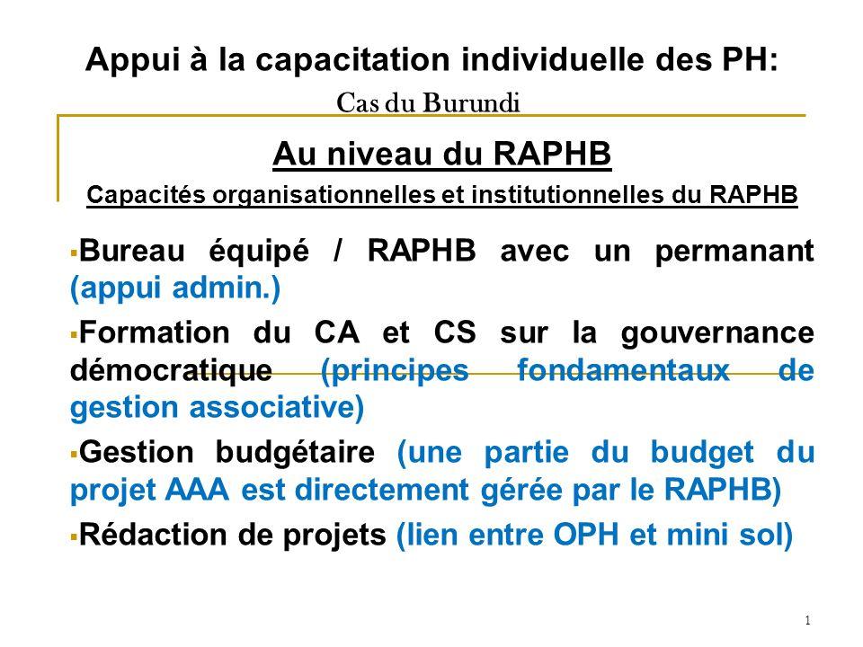 1 Appui à la capacitation individuelle des PH: Cas du Burundi Au niveau du RAPHB Capacités organisationnelles et institutionnelles du RAPHB Bureau équipé / RAPHB avec un permanant (appui admin.) Formation du CA et CS sur la gouvernance démocratique (principes fondamentaux de gestion associative) Gestion budgétaire (une partie du budget du projet AAA est directement gérée par le RAPHB) Rédaction de projets (lien entre OPH et mini sol)