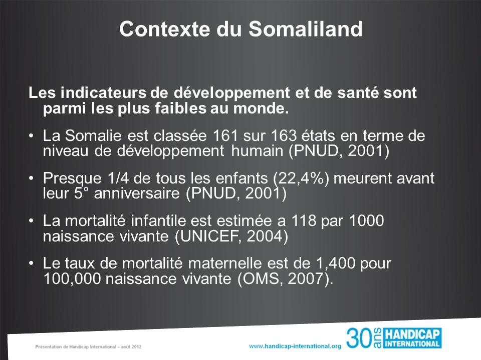 Contexte du Somaliland Les indicateurs de développement et de santé sont parmi les plus faibles au monde.
