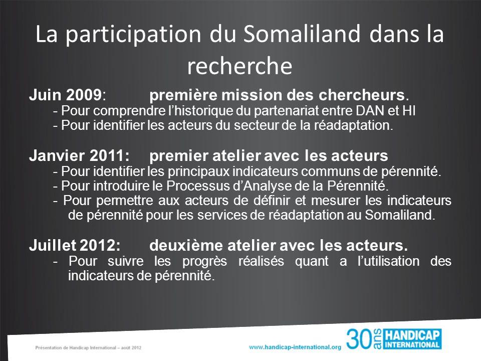 La participation du Somaliland dans la recherche Juin 2009: première mission des chercheurs.