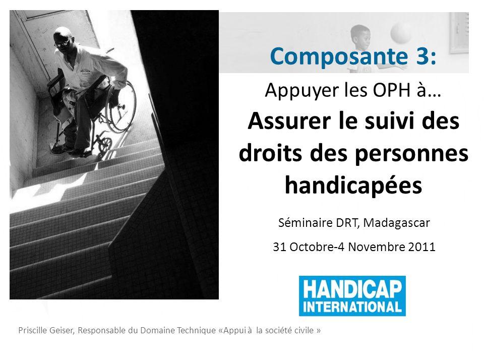 Priscille Geiser, Responsable du Domaine Technique «Appui à la société civile » Séminaire DRT, Madagascar 31 Octobre-4 Novembre 2011 Composante 3: App