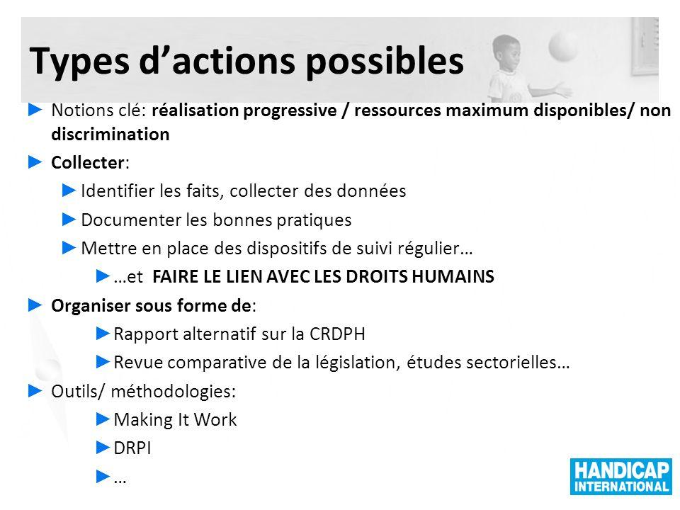 Types dactions possibles Notions clé: réalisation progressive / ressources maximum disponibles/ non discrimination Collecter: Identifier les faits, co