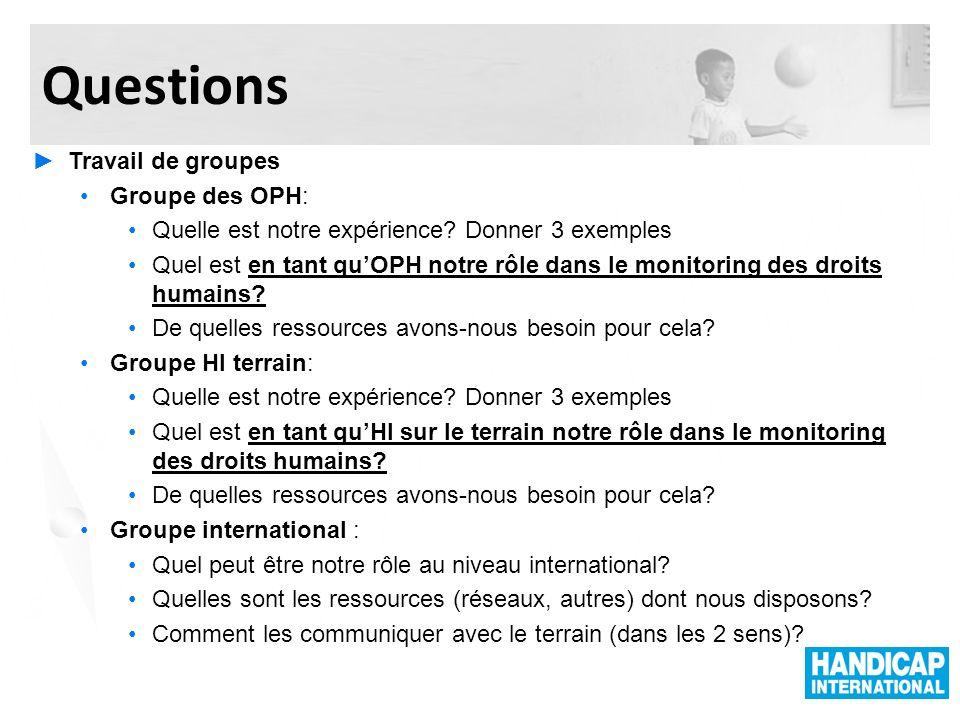 Questions Travail de groupes Groupe des OPH: Quelle est notre expérience? Donner 3 exemples Quel est en tant quOPH notre rôle dans le monitoring des d