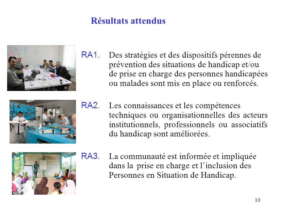 10 RA1. Des stratégies et des dispositifs pérennes de prévention des situations de handicap et/ou de prise en charge des personnes handicapées ou mala
