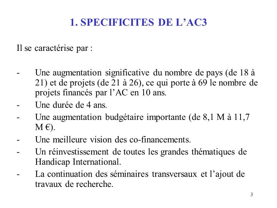 3 1. SPECIFICITES DE LAC3 Il se caractérise par : -Une augmentation significative du nombre de pays (de 18 à 21) et de projets (de 21 à 26), ce qui po