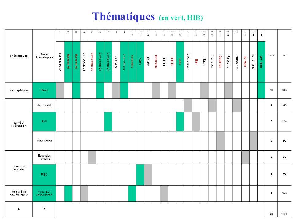 Thématiques Sous- thématiques 123456789 10101 1212 1313 1414 1515 1616 1717 1818 1919 2020 21212 23 2424 2525 2626 Total% Burkina Faso Burundi 01Burun