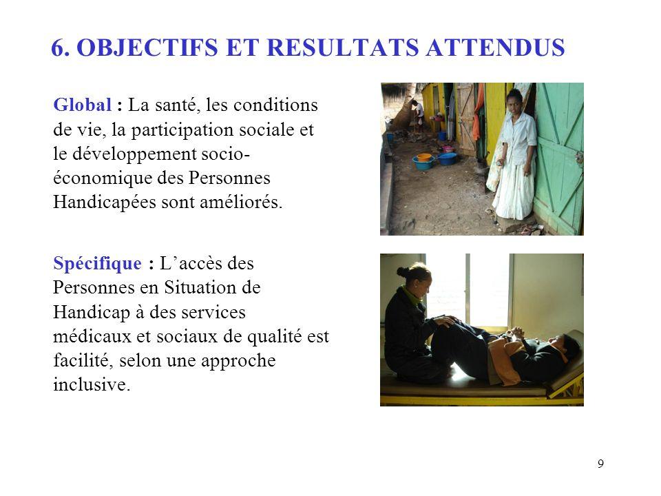 9 6. OBJECTIFS ET RESULTATS ATTENDUS Global : La santé, les conditions de vie, la participation sociale et le développement socio- économique des Pers