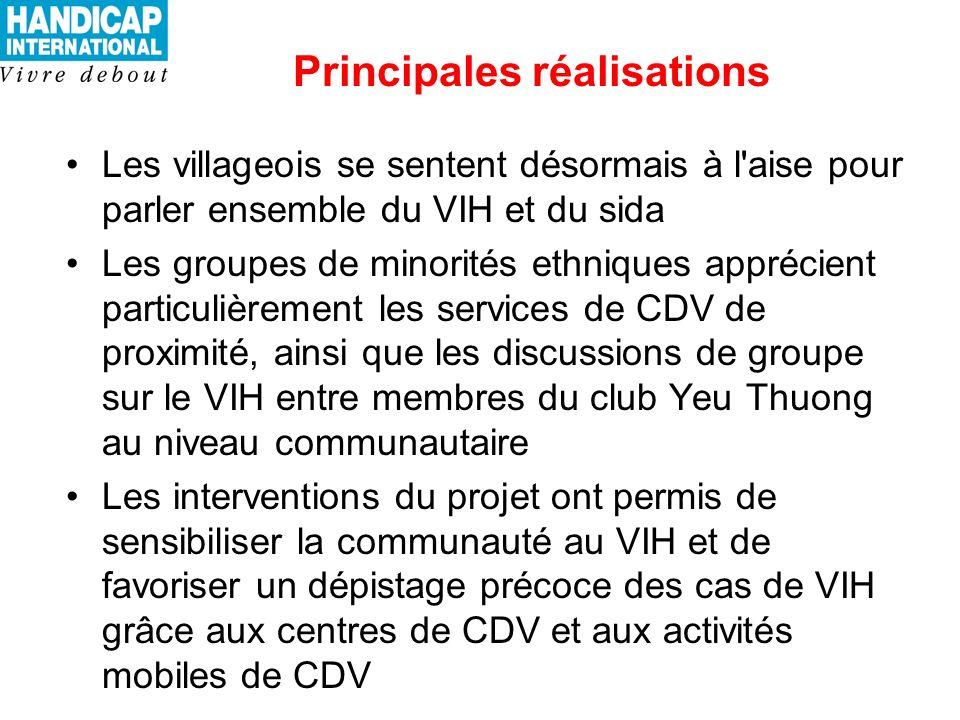 Principales réalisations Les villageois se sentent désormais à l aise pour parler ensemble du VIH et du sida Les groupes de minorités ethniques apprécient particulièrement les services de CDV de proximité, ainsi que les discussions de groupe sur le VIH entre membres du club Yeu Thuong au niveau communautaire Les interventions du projet ont permis de sensibiliser la communauté au VIH et de favoriser un dépistage précoce des cas de VIH grâce aux centres de CDV et aux activités mobiles de CDV