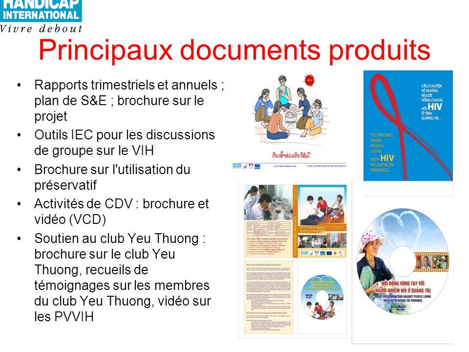 Principaux documents produits Rapports trimestriels et annuels ; plan de S&E ; brochure sur le projet Outils IEC pour les discussions de groupe sur le VIH Brochure sur l utilisation du préservatif Activités de CDV : brochure et vidéo (VCD) Soutien au club Yeu Thuong : brochure sur le club Yeu Thuong, recueils de témoignages sur les membres du club Yeu Thuong, vidéo sur les PVVIH