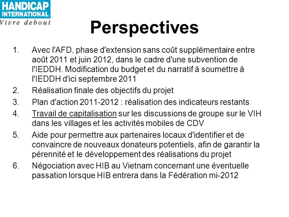 Perspectives 1.Avec l AFD, phase d extension sans coût supplémentaire entre août 2011 et juin 2012, dans le cadre d une subvention de l IEDDH.