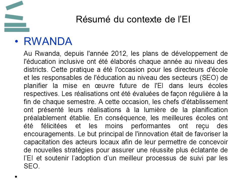 Résumé du contexte de lEI RWANDA Au Rwanda, depuis l'année 2012, les plans de développement de l'éducation inclusive ont été élaborés chaque année au