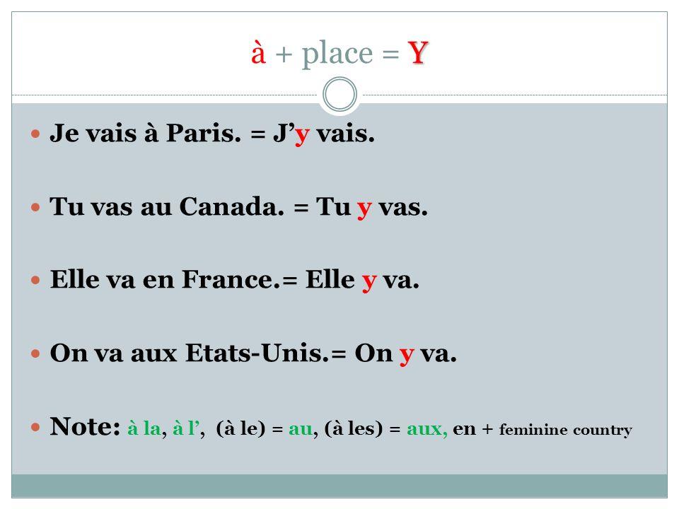Y à + place = Y Je vais à Paris. = Jy vais. Tu vas au Canada.