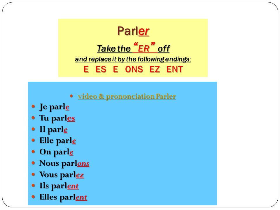 What Regular verb families do we know so far? Verbs of the ER family Verbs of the ER family jetuil, ellenousvousils, elles - e - es - e - ons - ez - e