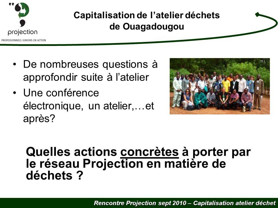 Rencontre Projection sept 2010 – Capitalisation atelier déchet Capitalisation de latelier déchets de Ouagadougou De nombreuses questions à approfondir suite à latelier Une conférence électronique, un atelier,…et après.